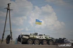 Последствия АТО и украинские блокпосты в Краматорске. Украина, военная техника, украинские войска, флаг
