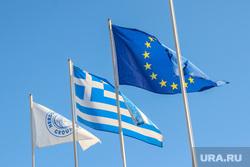Санторини. Греция., флаг евросоюза, флаг Греции
