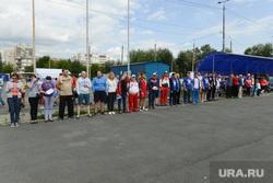Сдача норм ГТО членами и сторонниками «Единой России». Челябинск, построение, единая россия
