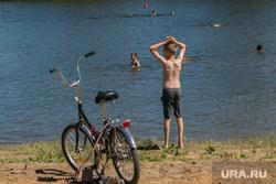 Разное. Курган  , велосипед, пляж, лето, купание, ребенок на пляже