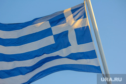 Санторини. Греция., флаг греции