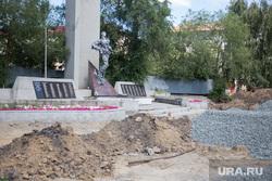 Строительные работы на территории памятника воинам-интернационалистам. Курган, памятник воинам-интернационалистам, раскопки
