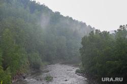 Пороги Саткинcкий район Челябинск, река, туман, большая сатка, дым над водой