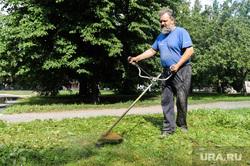 Покос травы после визита Николая Цуканова. Челябинск, пенсионер, газонокосильщик, трава, газон, бородач
