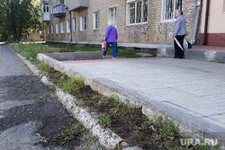 Скошенная клумба. Челябинск, тротуар, клумба, цветник