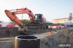 Строительство дороги по ул. Бурова-Петрова. Курган, экскаватор, строительство дороги, строительная машина