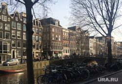 Нидерланды, река, набережная, велосипед, Амстердам