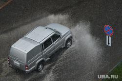 Ливень в Челябинске, дождь, автомобиль, пикап, ливень, уаз патриот