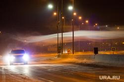 Клипарт. ХМАО, туман, мороз, вьюга, трасса, фонарь, метель, автомобильные фары