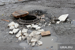 Гаражи Курган, канализационный люк, открытый люк