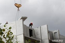 Объекты Курган, кран, стройка, строительство дома, рабочий