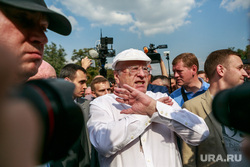 Митинг против пенсионной реформы сторонников Алексея Навального в Москве. Москва, жириновский владимир, жест руками