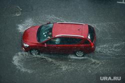 Ливень в Челябинске, дождь, авто, ливень, красная машина