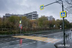 Начало сноса Ховринской больницы в Москве, дорожные знаки, пешеходный переход, осень, дождь