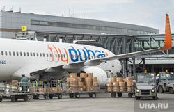Споттинг: аэропорт. Клипарт. Екатеринбург, самолет, погрузка багажа, флайдубай, flydubai