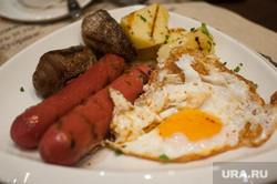 Завтраки в заведениях Екатерибурга, еда, сосиски, ресторан, яичница, блюдо