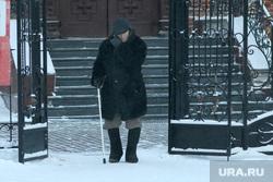 Мороз. Курган, пенсионер, мороз, холод на улице, зима