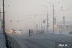 Морозы в городе. Сургут, пешеход, туман, проезжая часть, пдд, зима, дорога, морозы, холод