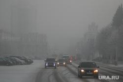 Туман в городе. Курган, площадь ленина, туман, плохая видимость, зима, фары