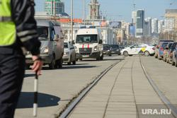 Замена трамвайного полотна на проспекте Ленина на  пересечении с улицей Карла Либкнехта. Екатеринбург, пробка, гибдд, дпс, трамвайные пути