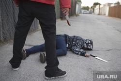 Жертвы убийства. Трупы. Окровавленный нож, нож, убийство, жертва