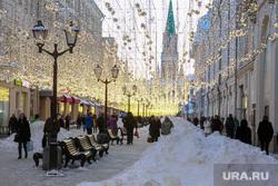 Снег и коммунисты в Москве. Москва, сугроб, город москва, иллюминация, снег, зима, вечер, последствия снегопада, город, улица, улица никольская