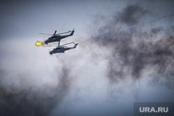 Выставка вооружений Russia Arms Expo-2013. RAE. Нижний Тагил, дым, вертолет, военная техника, испытательный полигон