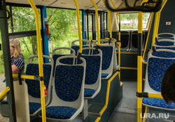 Осмотр тестового образца электробуса главой города Шуваловым Вадимом. Сургут, салон автобуса, кресла в автобусе
