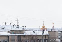 Курган, вид сверху, богоявленский храм, город курган, крыша дома, антенны, город зимой