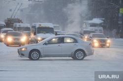 Мороз. Челябинск, проезжая часть, автомобили, фары, мороз, зима, климат, погода