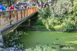 ЦПКиО города Кургана, отдыхающие, речка битевка, цпкио, мост