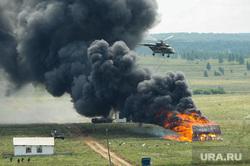 Антитеррористические учения «Мирная миссия - 2018». Челябинск, дым, вертолет, армия, вооружение, оружие, война, огонь, пожар
