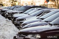 Клипарт по теме Морозы. Курган, машины в снегу, сугробы в городе, парковка автомобилей, мороз