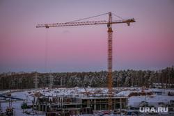 Виды города. Екатеринбург, строительный кран, рассвет, стройка