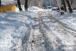 Снег в городе. Курган, снег в городе, нечищенная дорога, сугробы
