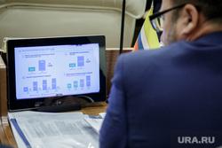 Решетников Максим представил доклад на заседании законодательного собрания. Пермь, экран, монитор, график