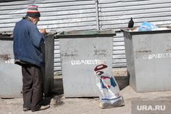 Попрошайки, бомжи Курган, мусорный контейнер, мусорка, бомж на помойке