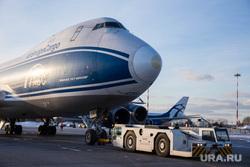 Прибытие рейса из Амстердама в Кольцово с цветами на борту. Екатеринбург, самолет, боинг 747, погрузчик контейнеров