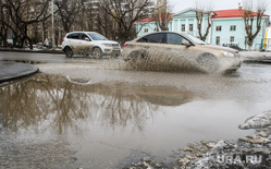 Виды Екатеринбурга, лужа, брызги, плохая дорога, улица кировградская