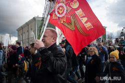 Военный парад, посвященный 73-й годовщине победы в Великой Отечественной войне. Свердловская область, Верхняя Пышма, 9мая, флаг, день победы, шествие, праздник