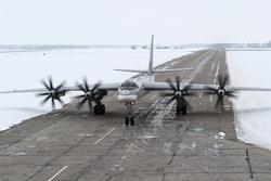 Летно-тактическое учение с эскадрильей Ту-95МС в Рязанской области , военный самолет