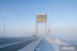 Мороз и ледяной туман. Салехард. 31 января 2019 г, зима, арктика, ямал, дорога, мороз, туман, мост факел