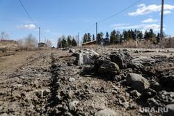 Житель села Гусево построивший дорогу. Тюмень. с. Гусево, колдобины, сельская дорога