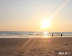 Клипарт. Индия. Гоа, море берег, солнце, закат