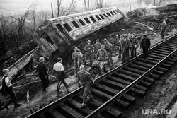 Фото с места железнодорожной катастрофы под Ашой в 1989 году, из архива челябинского фотографа Александра Чуносова. Челябинск, катастрофа под ашой 1989 года