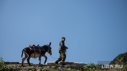 Кавказские горы в окрестностях Эльбруса, пастух, осел, ишак