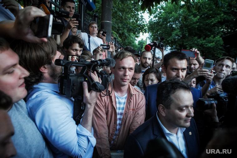 Выход Ивана Голунова из здания Следственного Управления ГУ МВД. Москва