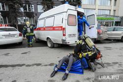 Учения МЧС на пожаре в Правительстве Челябинской области. Челябинск, эвакуация пострадавшего, скорая помощь, помощь пострадавшему