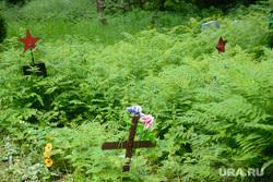 Нижне-Исетское и Михайловское кладбища. Екатеринбург, крест, могила, михайловское кладбище екатеринбурга, воинское захоронение, папоротник