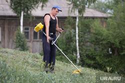 Клипарт. Курган., газонокосилка, газонокосильщик, покос травы
